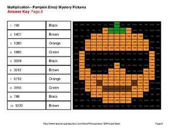 3-Digit by 1-Digit MULTIPLICATION - PUMPKIN EMOJI Mystery Pictures