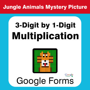 3-Digit by 1-Digit Multiplication - Animals Mystery Picture - Google Forms