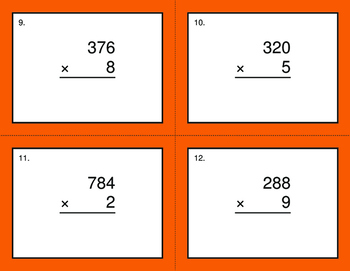 3-Digit by 1-Digit Multiplication BINGO and Task Cards