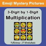 3-Digit by 1-Digit Multiplication Color-By-Number EMOJI Mystery Pictures
