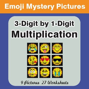 3-Digit by 1-Digit Multiplication Color-By-Number EMOJI Math Mystery Pictures