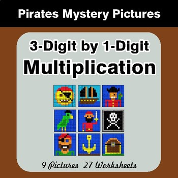 3-Digit by 1-Digit Multiplication - Color-By-Number Math Mystery Pictures