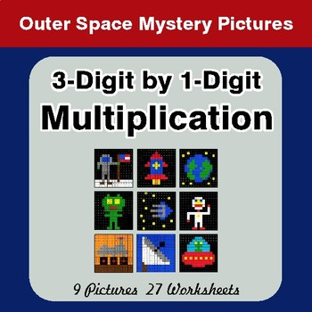 3-Digit by 1-Digit Multiplication - Color-By-Number Math Mystery Pictures - Space