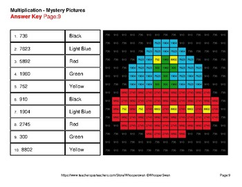 3-Digit by 1-Digit Multiplication - Color-By-Number Mystery Pictures - Space