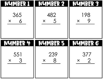 3 Digit by 1 Digit Multiplication Fact Cards