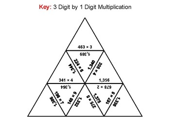 3 Digit by 1 Digit Multiplication Game: Math Tarsia Puzzle