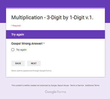 3-Digit by 1-Digit Multiplication - Interactive Digital Task Cards Google Forms