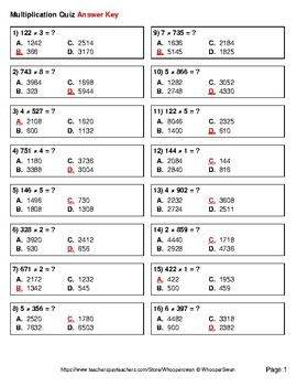 3-Digit by 1-Digit Multiplication Quiz - Test - Assessment - Worksheet