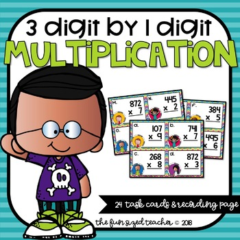 3 Digit by 1 Digit Multiplication Task Cards