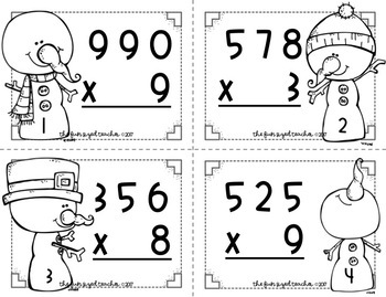 3 Digit by 1 Digit Multiplication Task Cards - Snowman Theme