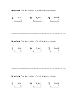 3-Digit by 1-Digit Multiplication (Third-Sheet)