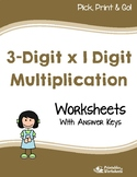 3 By 1 Digit Multiplication Worksheets, 3 X 1 Multiplication Practice Sheets