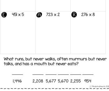 3-digit by 1-digit Multiplication Riddles