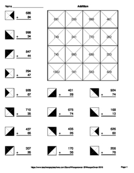 3-Digit by 2-Digit Addition - Coloring Worksheets