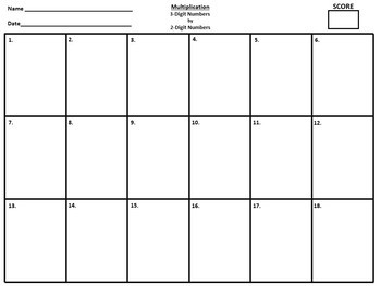 3 Digit by 2 Digit Multiplication - 36 Task Cards!