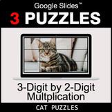 3-Digit by 2-Digit Multiplication - Google Slides - Cat Puzzles