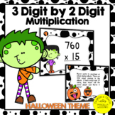 3 Digit by 2 Digit Multiplication Task Cards Halloween Theme