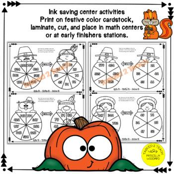3 Digit by 2 Digit Multiplication - Thanksgiving Spinners 5.NBT.B.5