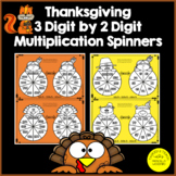 3 Digit by 2 Digit Multiplication - Thanksgiving Spinners