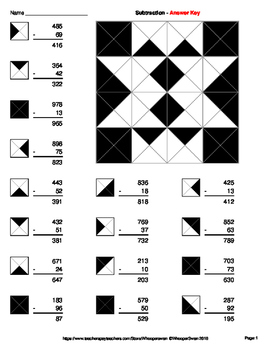 3-Digit by 2-Digit Subtraction - Coloring Worksheets