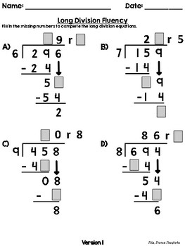 3-Digit divided by 1-Digit Scaffolded Long Division Fluency Worksheets