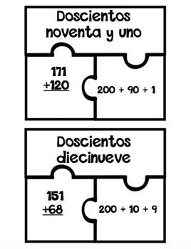 3 Digit Addition Puzzles - Spanish