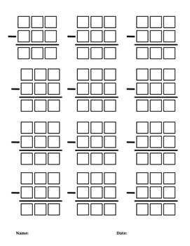 3 digit with regrouping subtraction boxes by sylvia marshall tpt. Black Bedroom Furniture Sets. Home Design Ideas