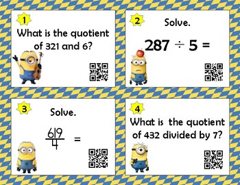 3-Digit x 1-Digit Division Task Cards with QR Codes