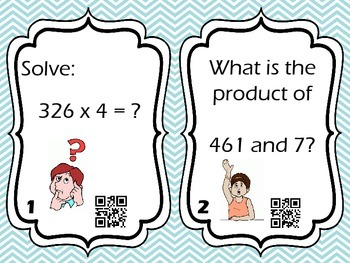 3-Digit x 1-Digit Multiplication Task Cards with QR Codes