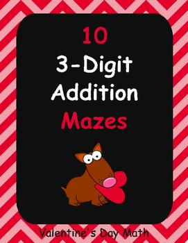3-Digit Addition Maze - Valentines Day Math