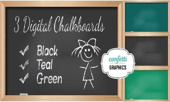 3 Digital Chalkboards Black Green School Teacher Blackboar