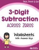 Three Digit Subtraction Across Zeros Worksheets With Answer Keys