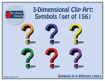 3-Dimensional Clip-Art: Symbols (Set of 156)