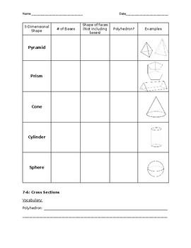 3-Dimensional Figures Graphic Organizer