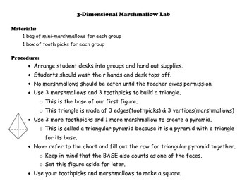 3-Dimensional Figures Marshmallow Lab