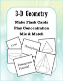 3-Dimensional Geometry (Concentration/Flash Cards/Mix and Match)
