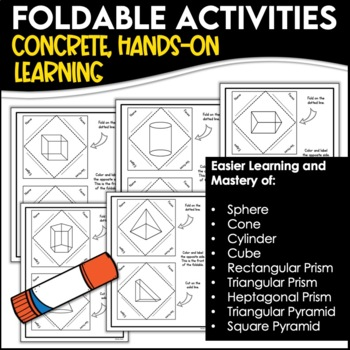 3D Shape Foldables Packet: Geometry, Faces, Edges, Vertices