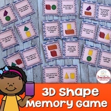 Geometry Activity 3D Shape Memory Game