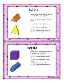 3-Dimensional Shapes Activities and Task Cards
