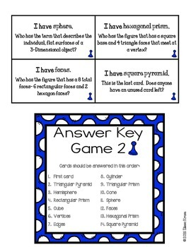 Geometry: 3-Dimensional Shapes I Have, Who Has Games {Set of 3 }