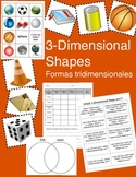 3-Dimensional Shapes Sorting Cards and Worksheets - English and Spanish