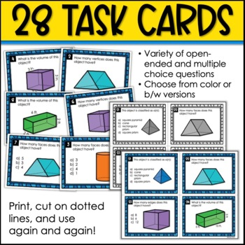 3D Shapes and Volume Task Cards and Poster Set