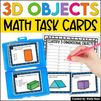 3D Shapes Geometry and Volume Task Cards and Poster Set