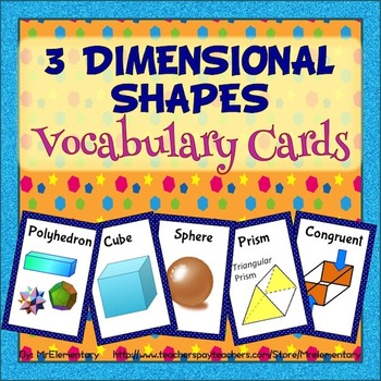 3D Shapes Vocabulary Trading Card Games and Activities