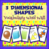 3D Shapes Vocabulary Word Wall Posters