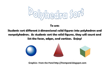 3 Dimensional Solid Figure Polyhedra Sort