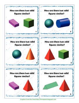 3 Dimensional Solid Figures Task Cards for Common Core