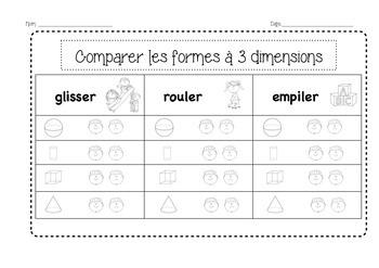 3 Dimensions - glisser, rouler, empiler