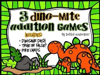 3 Dino-mite Addition Games {Addition within 20}