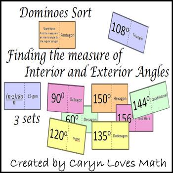 Exterior-Interior Angles of Polygons ~ 3 Dominoe Like Matc